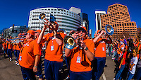 Broncos Brass (the brass section part of the Broncos Stampede, which allows includes a drum line), Denver Broncos Super Bowl 50 Victory Parade, Downtown Denver, Colorado USA.