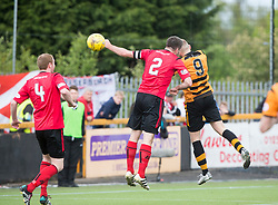 Alloa Athletic's Greg Spence (9) scoring their second goal. half time : Alloa Athletic 2 v 1 Brechin City, Ladbrokes Championship Play-Off 2nd Leg at Alloa Athletic's home ground, Recreation Park, Alloa.