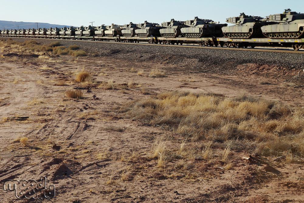 Tanks on freight train USA
