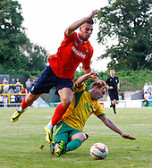 Alex Wall of Luton Town is fouled and wins a penalty during the Pre Season Friendly match at Top Field, Hitchin<br /> Picture by David Horn/Focus Images Ltd +44 7545 970036<br /> 17/07/2014