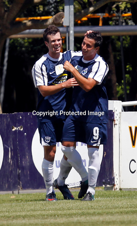 Auckland's Manel Exposito (right) celebrate scoring the 1st goal of the match. ASB Premiership, Auckland City FC v Team Wellington, Kiwitea Street Auckland, Sunday 13th February 2011. Photo: Shane Wenzlick