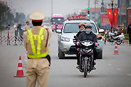Police check point for traffic violations in Bac Ninh Province in Vietnam on Jan 10, 2013..(Photo by Kuni Takahashi)
