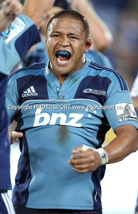 Keven Mealamu celebrates defeating the Crusaders at the Super 15 match, Blues v Crusaders at Eden Park, Auckland, New Zealand. Investec Super 15 Rugby Union. Saturday 19 February 2011. Photo: Andrew Cornaga/PHOTOSPORT