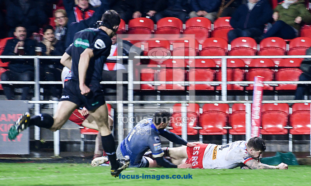 Mark Percival of Saint Helens scores his first try against Wakefield Trinity during the Betfred Super League match at The Totally Wicked Stadium, St Helens<br /> Picture by Melanie Allatt/Focus Images Ltd 07515 876011<br /> 03/03/2017
