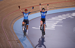 Katie Archibald (right) and teammate Hayley Jones celebrate winning the women's team elimination race during Round One of the 2017/18 Revolution Series at Lee Valley Velo Park, London.