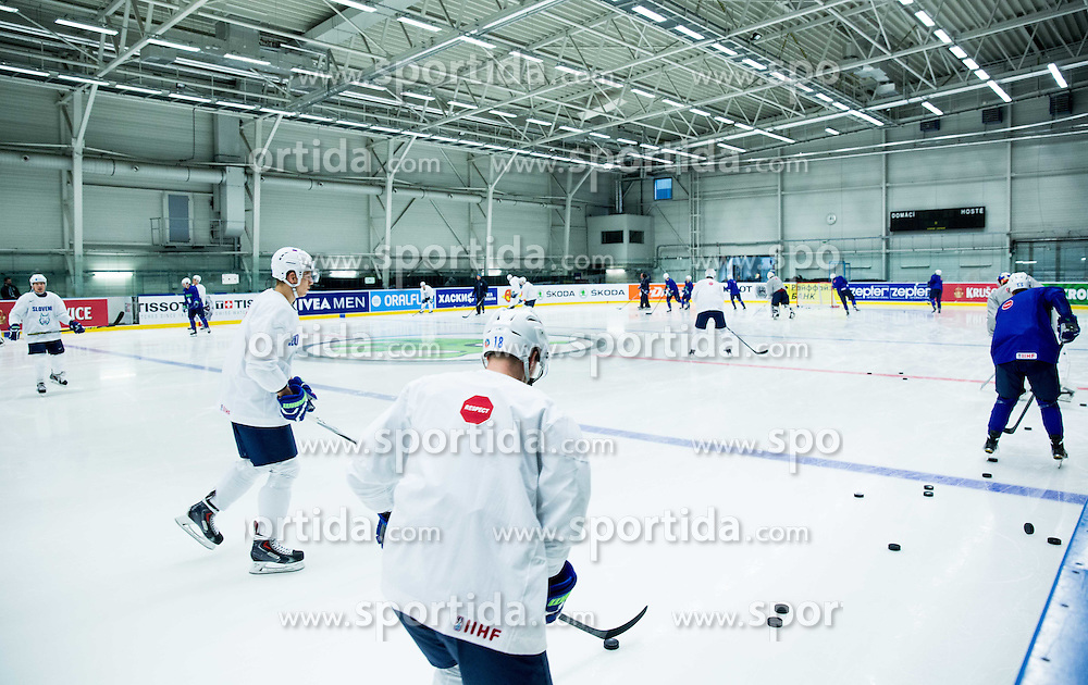 Players during practice session of Slovenian Ice Hockey National Team at Day 4 of 2015 IIHF World Championship, on May 4, 2015 in Practice arena Vitkovice, Ostrava, Czech Republic. Photo by Vid Ponikvar / Sportida