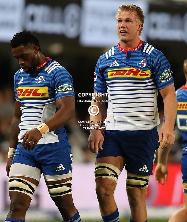 DURBAN, SOUTH AFRICA - MAY 27: Siya Kolisi (captain) of the DHL Stormers with Pieter-Steph du Toit of the DHL Stormers during the Super Rugby match between Cell C Sharks and DHL Stormers at Growthpoint Kings Park on May 27, 2017 in Durban, South Africa. (Photo by Steve Haag/Gallo Images)