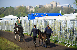 © London News Pictures. 12/05/2016. Windsor, UK. The first day of the 2016 Royal Windsor Horse Show, held in the grounds of Windsor Castle in Berkshire, England. The opening day of the event was cancelled due to heavy rain and waterlogged grounds. This years event is part of HRH Queen Elizabeth II's 90th birthday celebrations.  Photo credit: Ben Cawthra/LNP