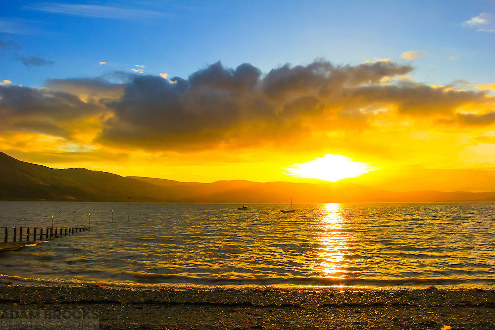 Sunset over Carlingford Lough viewed from Killowen Point towards The Cooley Mountains