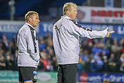 Steve McClaren & his assistant during the Pre-Season Friendly match between York City and Newcastle United at Bootham Crescent, York, England on 29 July 2015. Photo by Simon Davies.