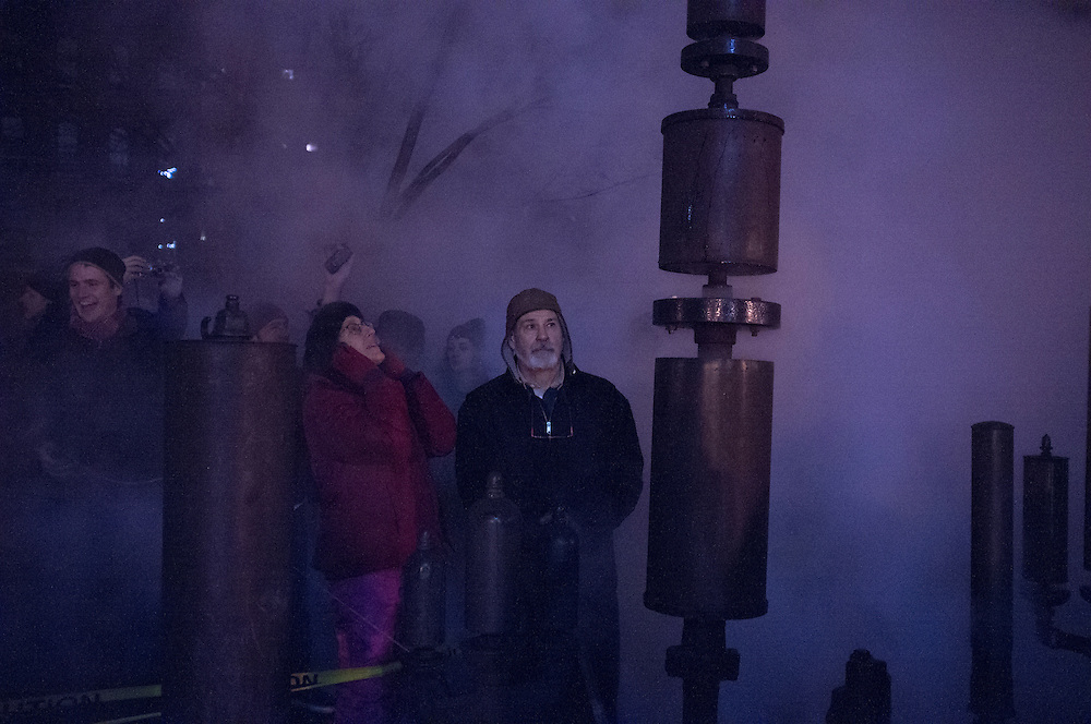Steam Whistles on New Year's at Pratt, Brooklyn, NY, on Tuesday, Jan. 1, 2013. <br /> <br /> Photograph by Andrew Hinderaker