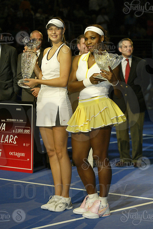 15 November 2004: Maria Sharapova (RUS) defeated Serena Williams (USA) 4-6, 6-2, 6-4 in the finals of the WTA Tour Championships on day six at the Staples Center in Los Angeles, CA.  First and Second place winners on the court with Trophy.