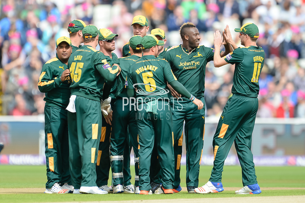 Notts Outlaws celebrates the wicket of Adam Rossington of of Northants Steelbacks during the NatWest T20 Blast Semi Final match between Nottinghamshire County Cricket Club and Northamptonshire County Cricket Club at Edgbaston, Birmingham, United Kingdom on 20 August 2016. Photo by David Vokes.