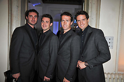 Band BLAKE (OLLIE BAINES, HUMPHREY BERNEY, JULES KNIGHT and STEPHEN BOWMAN) at a photographic retrospective showcasing images from Guess's historic advertising campaigns held at Il Bottaccio, Grosvenor Place, London on 28th October 2009.