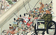 Heidji Rising, Japan. Abduction of former Emperor Go-Shirakawa by Fusiwara No Nobuyari 1159. Chromolithograph after illustration by the monk Keion in 'Heidju-monogatari' (Tales of the Year Heidji) 13th century.