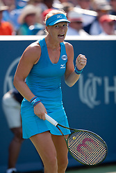 August 19, 2018 - Cincinnati, OH, USA - Western and Southern Open Tennis, Cincinnati, OH - August 19, 2018 - Kiki Bertens celebrates a point against Simona Halep  in the finals of the Western and Southern Tennis tournament held in Cincinnati. Bertens won 2-6 7-6 6-2. - Photo by Wally Nell/ZUMA Press (Credit Image: © Wally Nell via ZUMA Wire)