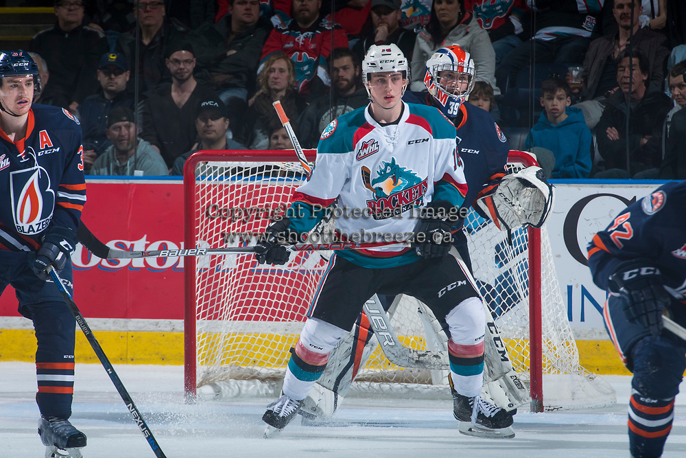 KELOWNA, CANADA - MARCH 31: Kole Lind #16 of the Kelowna Rockets looks for the pass in front of the net of Connor Ingram #39 of the Kamloops Blazers on March 31, 2017 at Prospera Place in Kelowna, British Columbia, Canada.  (Photo by Marissa Baecker/Shoot the Breeze)  *** Local Caption ***