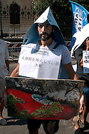 Rome September 3 2008                  .World Day stop killing dolphins in Japan..Demonstration of the Animalistis Italiani in front of the embassy of Japan
