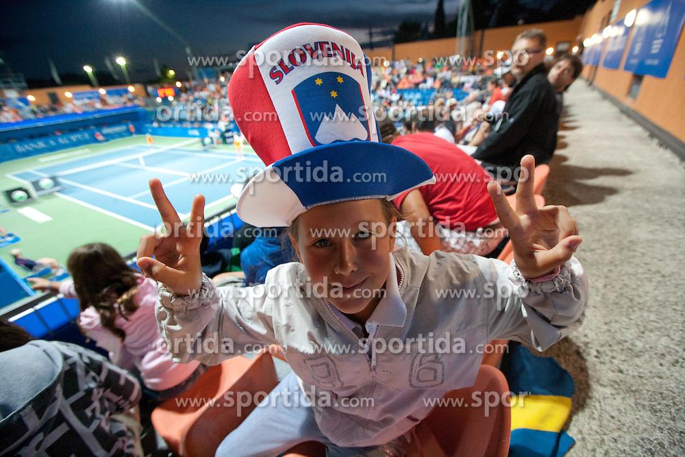 Young Slovenian fan at first semifinal match of Singles at Banka Koper Slovenia Open WTA Tour tennis tournament, on July 24, 2010 in Portoroz / Portorose, Slovenia. (Photo by Vid Ponikvar / Sportida)