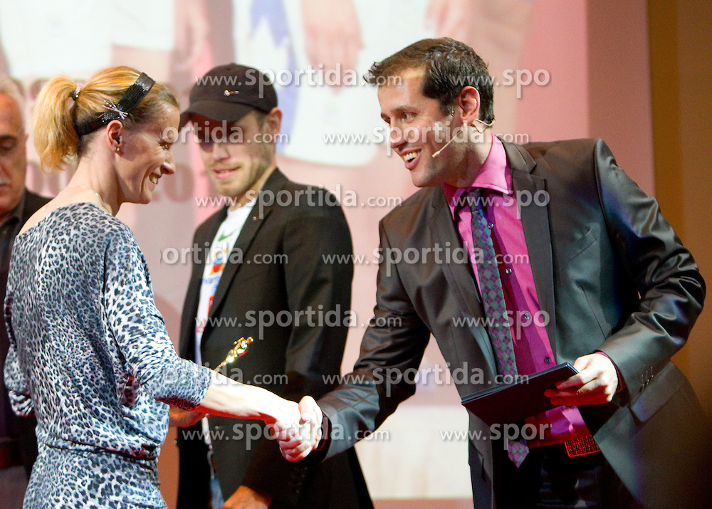 Sonja Roman, Bostjan Buc and Peter Poles during the Slovenia's Athlete of the year award ceremony by Slovenian Athletics Federation AZS, on November 12, 2008 in Hotel Mons, Ljubljana, Slovenia.(Photo By Vid Ponikvar / Sportida.com) , on November 12, 2010.