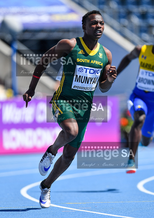 BYDGOSZCZ, POLAND - JULY 21: Clarence Munyai of South Africa in the heats of the mens 200m during day 3 of the IAAF World Junior Championships at Zawisza Stadium on July 21, 2016 in Bydgoszcz, Poland. (Photo by Roger Sedres/Gallo Images)