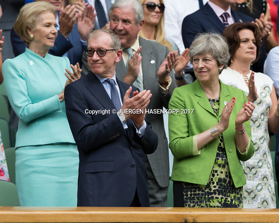Wimbledon Feature, Herren Endspiel, Finale, Premierministerin Theresa May und Philip May in der Ehrenloge,Royal Box,Siegerehrung, Praesentation,<br /> <br /> Tennis - Wimbledon 2017 - Grand Slam ITF / ATP / WTA -  AELTC - London -  - Great Britain  - 16 July 2017.