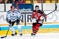 08.10.2013, Zimni Stadion, Zneim, CZE, EBEL, HC Orli Znojmo vs EHC Black Wings Linz, 18. Runde, im Bild Peter Pucher (Znojmo #33) Matthias Iberer (Linz #15) // during the Erste Bank Icehockey League 18th round match betweeen HC Orli Znojmo and EHC Black Wings Linz, at the Zimni Stadium, Znojmo, Czech Republic on 2013/10/08. EXPA Pictures © 2013, PhotoCredit: EXPA/ Rostislav Pfeffer
