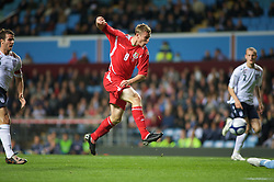 BIRMINGHAM, ENGLAND - Monday, October 13, 2008: Wales' Simon Church scores the second goal against England during the UEFA European Under-21 Championship Play-Off 2nd Leg match at Villa Park. (Photo by Gareth Davies/Propaganda)
