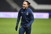 A laughing Coventry City midfielder Jodi Jones (7) during the EFL Trophy match between Milton Keynes Dons and Coventry City at Stadium:MK, Milton Keynes, England on 3 December 2019.