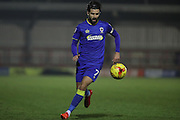 AFC Wimbledon defender George Francomb (7) during the EFL Trophy match between AFC Wimbledon and U23 Brighton and Hove Albion at the Cherry Red Records Stadium, Kingston, England on 6 December 2016. Photo by Stuart Butcher.