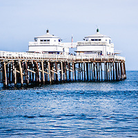 Panoramic picture of Malibu Pier in Malibu California. Malibu Pier is a historic landmark along the Pacific Ocean in Los Angeles County in Southern California.