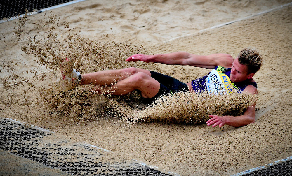 Denmark's Jensen Morten competes in the men's long jump