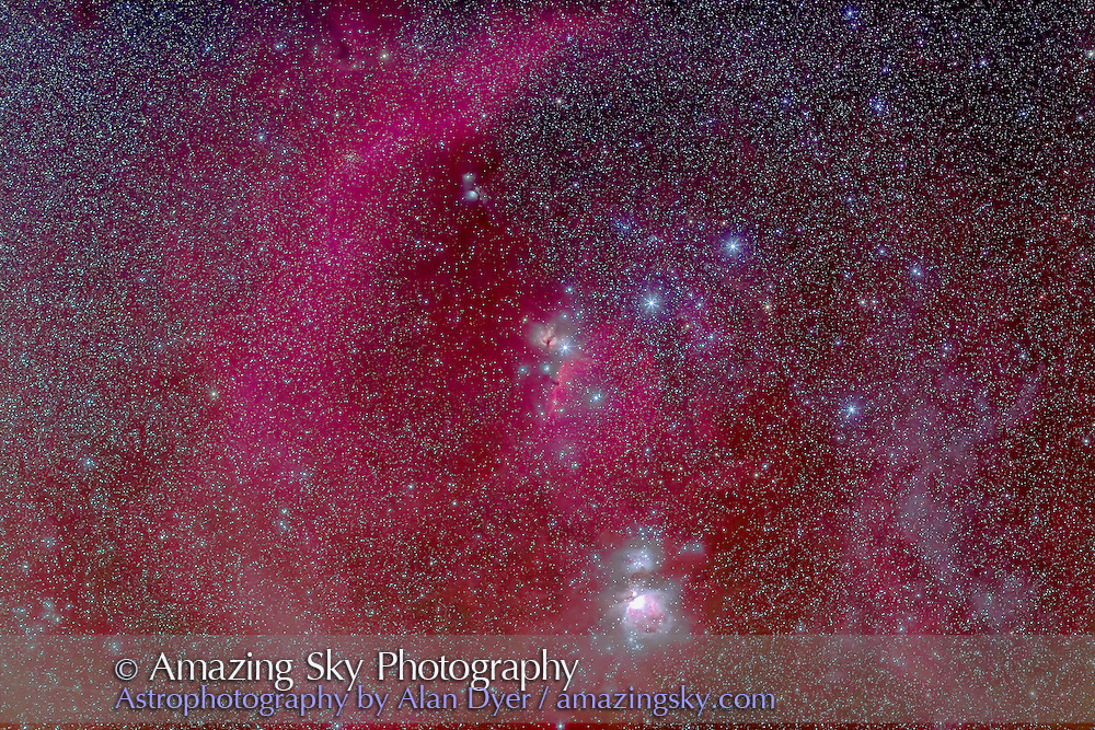 The Belt and Sword of Orion, taken from home, Feb 1, 2013. Taken as part of testing of a Hutech-modified Canon 6D camera. This is with the 135mm lens at f/2.8 and is a stack of 2 x 4 minute at ISO 800 and 2 x 2 minute at ISO 1600. Some light haze moving in.