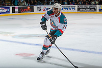KELOWNA, CANADA - JANUARY 7: Devante Stephens #21 of the Kelowna Rockets looks for the pass against the Kamloops Blazers on January 7, 2017 at Prospera Place in Kelowna, British Columbia, Canada.  (Photo by Marissa Baecker/Shoot the Breeze)  *** Local Caption ***