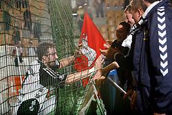 Vid Kavticnik of THW Kiel with his fans at handball game THW Kiel  - HSV Hamburg in the semifinal of EHF 2007 Men`s Champions Trophy, on October 20, 2007 in Zlatorog Hall, Celje, Slovenia.  Win of THW Kiel 31 : 30  (17:14).  (Photo by Vid Ponikvar / Sportal Images).