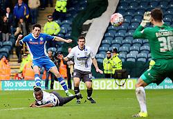 Ian Henderson of Rochdale has a shot saved by Daniel Bachmann of Bury  - Mandatory byline: Matt McNulty/JMP - 06/12/2015 - Football - Spotland Stadium - Rochdale, England - Rochdale v Bury - FA Cup