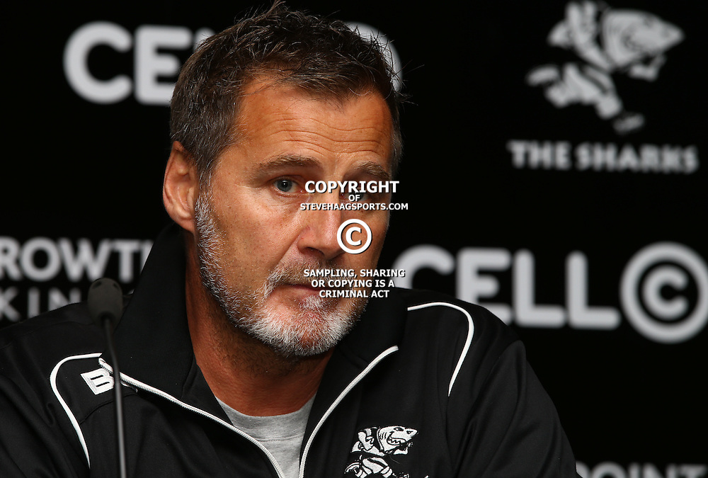DURBAN, SOUTH AFRICA, 16 August, 2016 -   Robert du Preez (Head Coach) of the Cell C Sharks during The Cell C Sharks  Press Conference and Currie Cup training session at Growthpoint Kings Park in Durban, South Africa. (Photo by Steve Haag)<br /> <br /> images for social media must have consent from Steve Haag