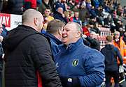Morecambe's manager Jim Bentley and Mansfield Town Manager Steve Evans during the EFL Sky Bet League 2 match between Morecambe and Mansfield Town at the Globe Arena, Morecambe, England on 27 January 2018. Photo by Paul Thompson.