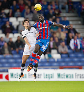 Inverness&rsquo; Lonsana Doumbouya and Dundee&rsquo;s Julen Etxabeguren - Inverness Caledonian Thistle v Dundee in the Ladbrokes Scottish Premiership at Caledonian Stadium, Inverness. Photo: David Young<br /> <br />  - &copy; David Young - www.davidyoungphoto.co.uk - email: davidyoungphoto@gmail.com