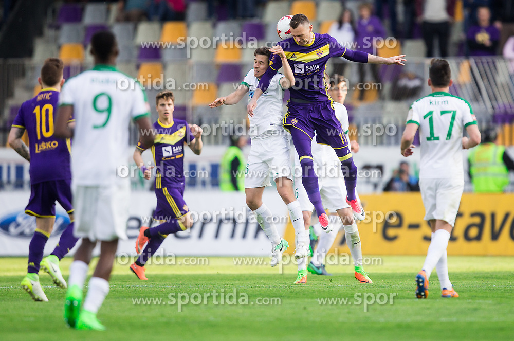 Nik Kapun of NK Olimpija Ljubljana vs Milivoje Novakovic of Maribor during 2nd Leg football match between NK Maribor and NK Olimpija Ljubljana in Semifinal of Slovenian Football Cup 2016/17, on April 12, 2017 in Stadium Ljudski vrt, Maribor, Slovenia. Photo by Vid Ponikvar / Sportida