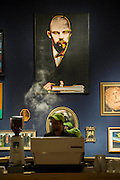 Lenin by Andy Warhol (est £1.2-1.8m)  looks down on the new pop-up coffee shop in The (anti) Portrait room - - Christie's Curates: PAST PERFECT / FUTURE PRESENT. A celebration of creativity which launches the summer season, this exhibition showcases a dynamic 'juxtaposition' of art from across the ages alongside innovative and new media works by four emerging artists: James Balmforth, Armand Boua, Olga Chernysheva and Harry Sanderson. This year's curators Alina Brezhneva, Bianca Chu, Milo Dickinson and Tancredi Massimo di Roccasecca 'drive the exhibition in to a bold new chapter'. Highlights: the black felt bicorne hat, once belonging to the Emperor Napoleon and worn by him during the whole Campaign of 1807, in the Battle of Eylau and Friedland, and at the Treaty of Tilsit; the Merlin III engine from an authentic and immaculately restored Vickers Supermarine Spitfire Mk.1A – P9374/G-MK1A. This is a truly iconic aircraft which is symbol of the bravery 'of the few' in the Battle of Britain; and the first opportunity to view Chris Ofili's The Holy Virgin Mary (1996) in London - first exhibited at the generation-defining exhibition 'Sensation' in London and New York, The Holy Virgin Mary was a focal point for the widespread attention the exhibition received throughout the international media landscape, and dates from a moment that saw Ofili propelled to international fame. The works will be on view to the public from 12-16 June at Christie's King Street,