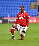 Bristol city forward, Jonathan Kodjia still appeals to the linesman for the foul during the Sky Bet Championship match between Bolton Wanderers and Bristol City at the Macron Stadium, Bolton, England on 7 November 2015. Photo by Mark Pollitt.