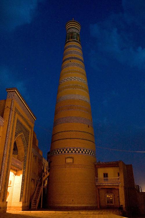 Islom-Hoja minaret at night, Khiva