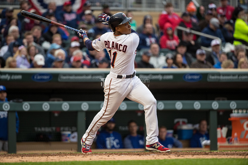 MINNEAPOLIS, MN- APRIL 3: Jorge Polanco #11 of the Minnesota Twins bats against the Kansas City Royals on April 3, 2017 at Target Field in Minneapolis, Minnesota. The Twins defeated the Royals 7-1. (Photo by Brace Hemmelgarn) *** Local Caption *** Jorge Polanco