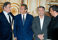 """Michel Drucker, Jacky Ickx, Salvatore Adamo, François Pirette attends at the ceremony who Michel Drucker was awarded at  the title of Commander of the Order of the Crowne at the Palace Egmont"""" at Brussels, 2014 in Brussels, Belgium."""