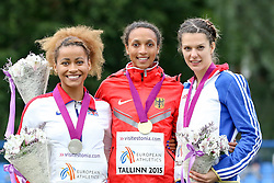 12.07.2015, Kadriorg Stadion, Tallinn, EST, U23 Leichtathletik EM, Tallinn, im Bild Jazmin Sawyers (GBR), Malaika Mihambo (GER) und Alina Rotaru (ROU) // Jazmin Sawyers (GBR), Malaika Mihambo (GER) und Alina Rotaru (ROU) medalists in women??s Long Jump U23 Championships at the Kadriorg Stadion in Tallinn, Estland on 2015/07/12. EXPA Pictures © 2015, PhotoCredit: EXPA/ Eibner-Pressefoto/ Fusswinkel<br /> <br /> *****ATTENTION - OUT of GER*****
