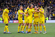 Goal - Oxford celebrate taking a 1-0 lead over Plymouth during the Sky Bet League 2 match between Plymouth Argyle and Oxford United at Home Park, Plymouth, England on 5 March 2016. Photo by Graham Hunt.