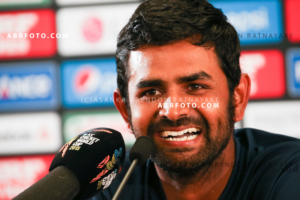A smiling Lahiru Thirimanne speaks to the media at the post match press conference during the 2015 ICC Cricket World Cup Pool A group match between England Vs Sri Lanka at the Wellington Regional Stadium, Wellington, New Zealand.