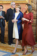 Queen Letizia of Spain, Elke Buedenbender attend an official lunch at Palacio Real on October 24, 2018 in Madrid, Spain