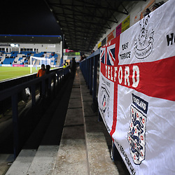 TELFORD COPYRIGHT MIKE SHERIDAN  AFC Telford flags stadium general during the FA Trophy Round 1 fixture between AFC Telford United and Leamington at the New Bucks head Stadium on Tuesday, December 17, 2019.<br />
